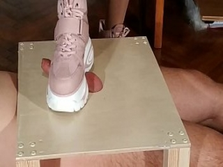 Domina cock stomping slave in pink boots (magyar al&aacute_z&aacute_s) pt1 HD