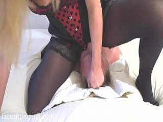Incredible Squirting Facesitting Orgasm on Slave&#039_s Face
