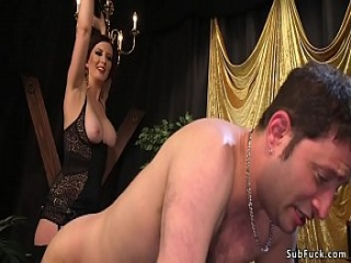 Busty domme in lingerie whips man