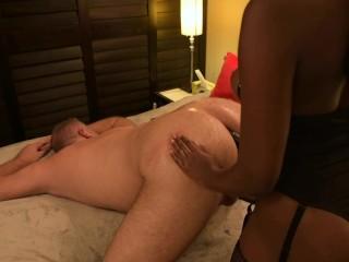 Boyfriend Spanked and Pegged Hard - FemDom Ebony StrapOn With Massive Cumshot