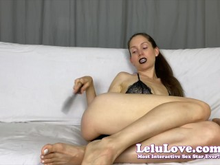 Female Domination babe dark lipstick telling you how to stroke and fuck your ass with spatula & condom JOI CBT - Lelu Love