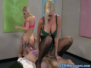 Sexy cfnm babes paint and fuck dude