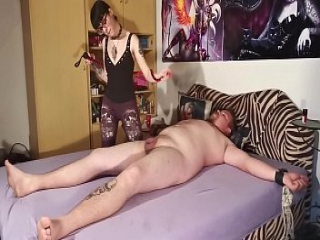 Goth domina biting her tied out slave body &amp_ cock pt2 HD