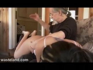 Wasteland Dungeon Master Spanks Jade Over Knee And Paddles With Wood Spoon