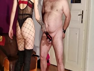 Cock slapping-whipping-spanking by sexy goth domina pt1 HD