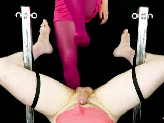 BALLBUSTING HANDJOB AND FOOTJOB FOR YOU – Nylon Bondage POV CBT | Era