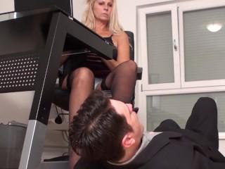 office mature nylon feet worship