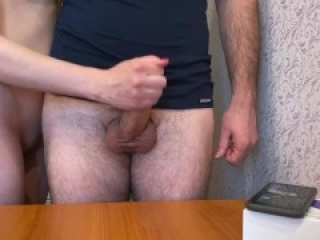 Playing Ultimate edging challenge and cumshot on the table