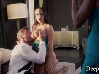 Deeper. Voluptuous September & Sofi have twisted threesome