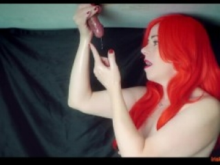 Red Head MILF Milks his cock twice on the milking table! Double Cumshot with a Ruined Orgasm