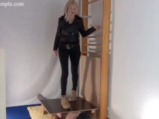 Mistress Alina tramples cock and balls in rough brown boots (trailer)